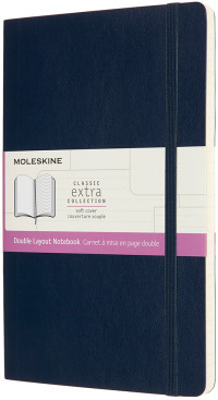 Moleskine Classic Extra Soft Cover Large Notebook - Ruled and Plain - Sapphire Blue