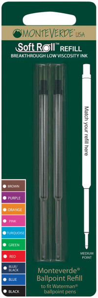 Monteverde Soft Ballpoint Refill To Fit Waterman (Blister of 2)