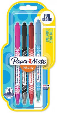 Papermate Inkjoy Wrap 100 Retractable Ballpoint Pen - Medium - Fun Colours (Blister of 4)