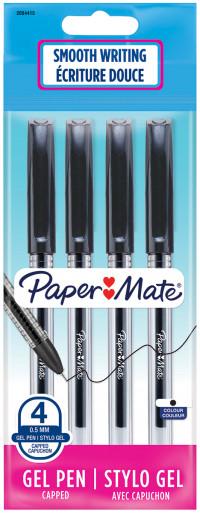 Papermate Jiffy Gel Ballpoint Pen - Black (Pack of 4)