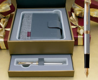 Parker Sonnet Fountain Pen - Stainless Steel Gold Trim in Luxury Gift Box with Free Organiser