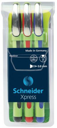 Schneider Xpress Fineliner Pens - Assorted Colours (Pack of 3)