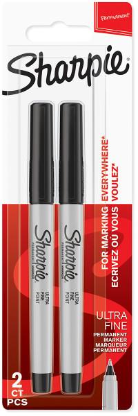 Sharpie Ultra Fine Marker Pens - Black (Blister of 2)