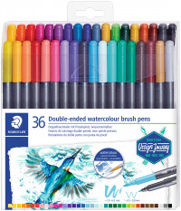 Staedtler Double Ended Watercolour Brush Pen - Assorted Colours (Pack of 36)