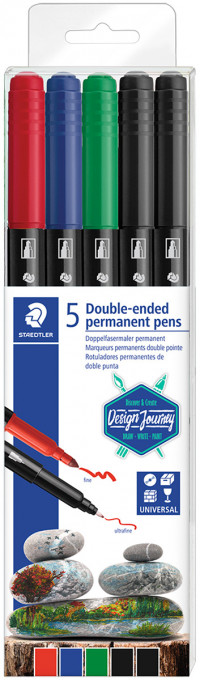 Staedtler Double Ended Permanent Pens - Assorted Colours (Wallet of 5)