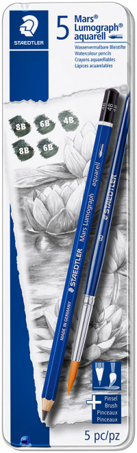 Staedtler Mars Lumograph Aquarell Pencils - Assorted Degrees (Tin of 6)