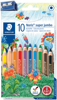Staedtler Noris Club Super Jumbo Coloured Pencils with Sharpener - Assorted Colours (Pack of 10)