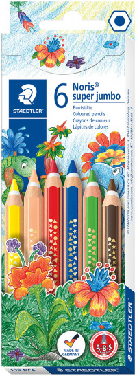 Staedtler Noris Club Super Jumbo Coloured Pencils - Assorted Colours (Pack of 6)