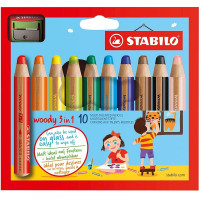 Stabilo Woody 3in1 Jumbo Colouring Pencils - Assorted Colours (Pack of 10)