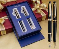 Waterman Expert Fountain & Ballpoint Pen Set - Black Gold Trim in Luxury Gift Box