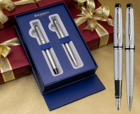Waterman Expert Fountain & Ballpoint Pen Set - Stainless Steel Chrome Trim in Luxury Gift Box