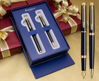 Waterman Hemisphere Fountain & Ballpoint Pen Set - Gloss Black Gold Trim in Luxury Gift Box
