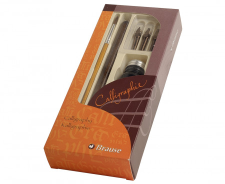 Brause Calligraphy Set - 3 calligraphy Nibs with Dip Pen & Ink Bottle