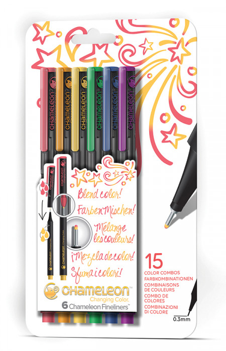 Chameleon Fineliner Pens - Assorted Primary Colours (Pack of 6)