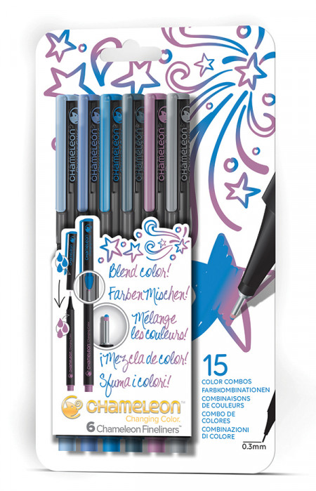 Chameleon Fineliner Pens - Cool Colours (Pack of 6)