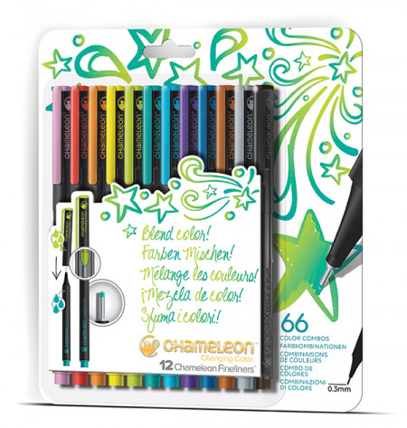 Chameleon Fineliner Pens - Assorted Bright Colours (Pack of 12)