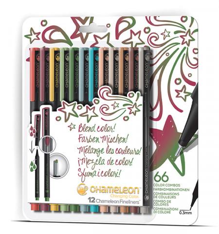 Chameleon Fineliner Pens - Designer Colours (Pack of 12)