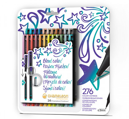 Chameleon Fineliner Pens - Bold Colours (Pack of 24)