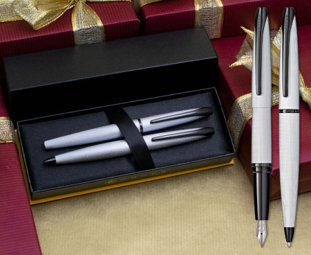 Cross ATX Fountain & Ballpoint Pen Set - Brushed Chrome