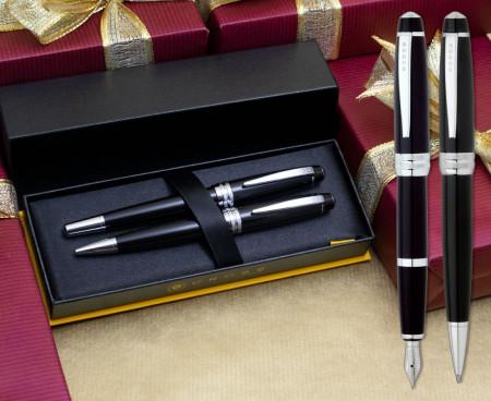 Cross Bailey Fountain & Ballpoint Pen Set - Black Lacquer Chrome Trim