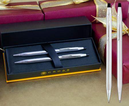 Cross Classic Century Ballpoint Pen & Pencil Set - Lustrous Chrome