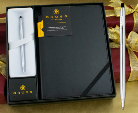 Cross Classic Century Ballpoint Pen - Lustrous Chrome in Luxury Gift Box with Free Black Journal
