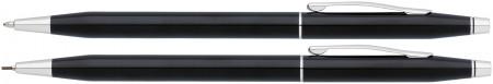 Cross Classic Century Ballpoint Pen & Pencil Set - Black Lacquer Chrome Trim