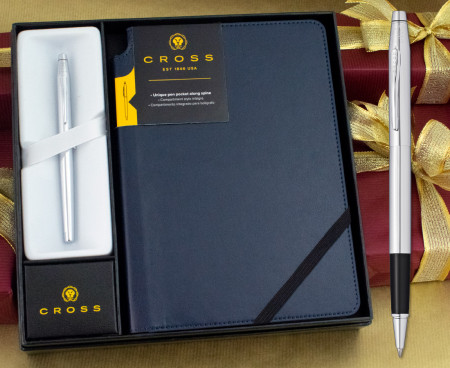Cross Classic Century Rollerball Pen - Lustrous Chrome in Luxury Gift Box with Free Blue Journal