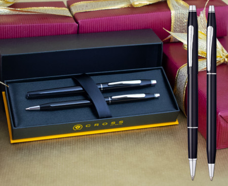 Cross Classic Century Rollerball & Ballpoint Pen Set - Black Lacquer Chrome Trim