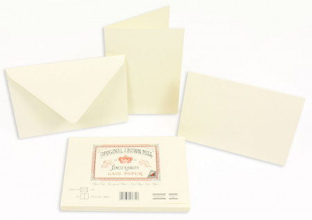Crown Mill Classics C6 Set of 10 Folded Cards and Envelopes - Cream