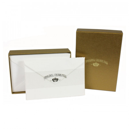 Crown Mill Golden Line 9.5x14.5 280gsm Set of 25 Cards and Envelopes - White