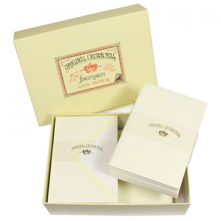 Crown Mill Luxury Box C6 Set of 100 Sheets and Envelopes - Cream