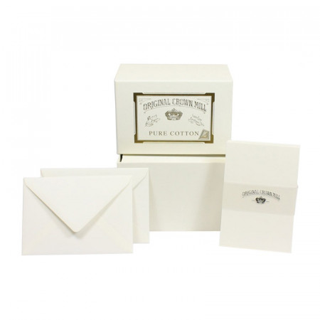 Crown Mill Pure Cotton C6 Set of 50 Cards and Envelopes - White