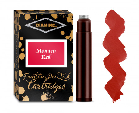 Diamine Ink Cartridge - Monaco Red (Pack of 18)