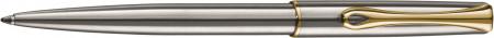 Diplomat Traveller Ballpoint Pen - Stainless Steel Gold Trim
