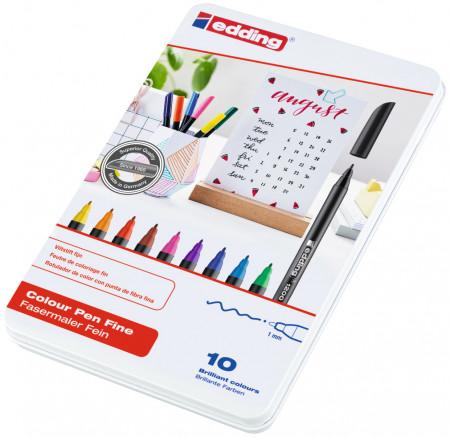 Edding 1200 Fibre Tip Pens - Assorted Colours (Tin of 10)