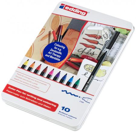 Edding 1300 Fibre Tip Pens - Assorted Colours (Tin of 10)