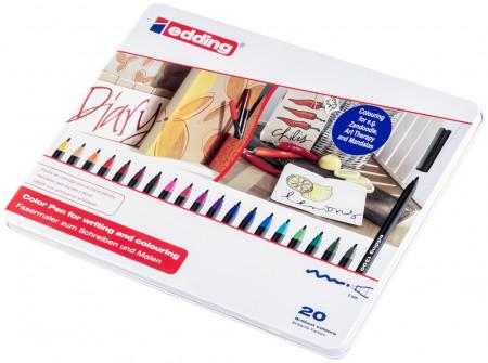 Edding 1300 Fibre Tip Pens - Assorted Colours (Tin of 20)