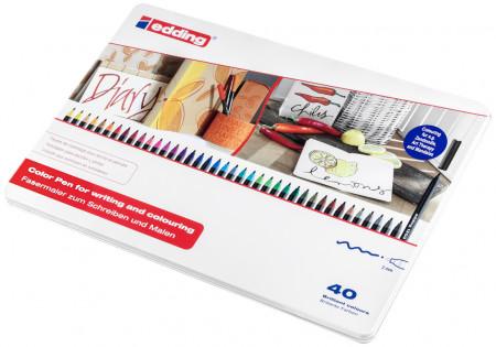Edding 1300 Fibre Tip Pens - Assorted Colours (Tin of 40)