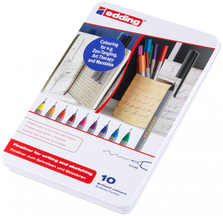 Edding 55 Fineliners - Assorted Colours (Tin of 10)