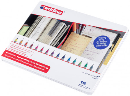 Edding 55 Fineliners - Assorted Colours (Tin of 16)