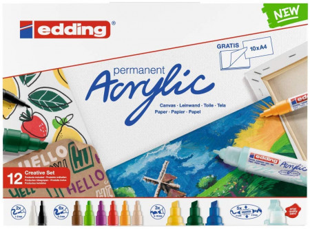 Edding Acrylic Paint Markers - Creative Set - Basic Colours (Pack of 12)