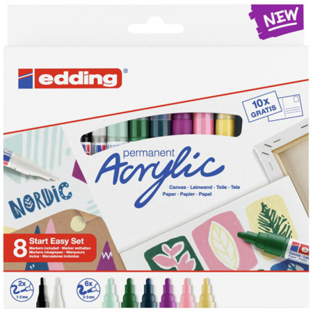 Edding Acrylic Paint Markers - Easy Start Set - Nordic Colours (Pack of 8)