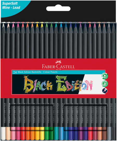 Faber-Castell Black Edition Colouring Pencils - Assorted Colours (Pack of 24)