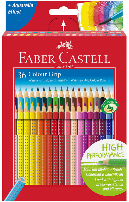 Faber-Castell Colour Grip Pencils - Assorted Colours (Pack of 36)