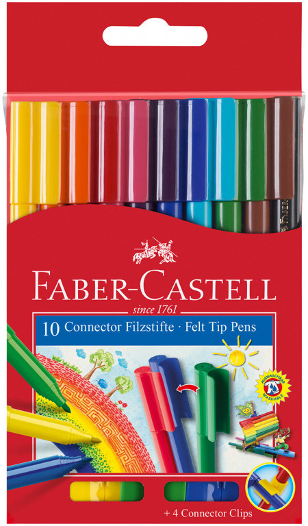 Faber-Castell Connector Fibre Tip Pens - Assorted Colours (Pack of 10)