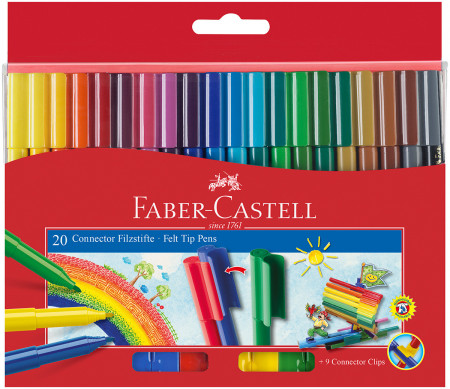 Faber-Castell Connector Fibre Tip Pens - Assorted Colours (Pack of 20)