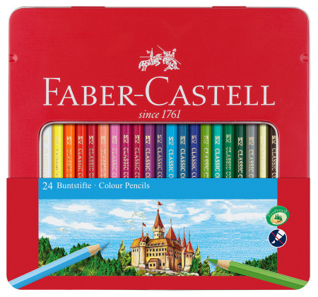 Faber-Castell Hexagonal Colouring Pencils - Assorted Colours (Tin of 24)