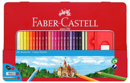Faber-Castell Hexagonal Colouring Pencils - Assorted Colours (Tin of 48)