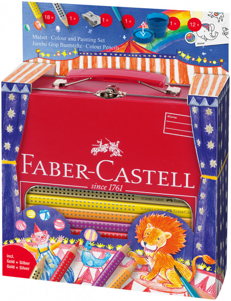 Faber-Castell Jumbo Grip Colouring Pencils - Assorted Circus Gift Set with Paint Brush & Water Pot